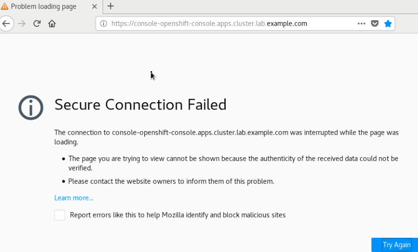 OpenShift web console fails