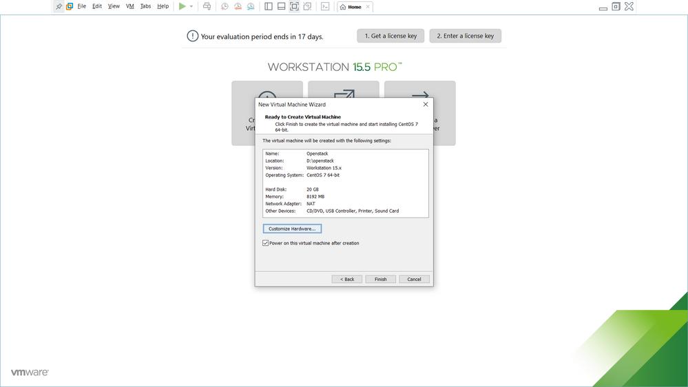 VM Creation - Step 6 (Choose Customize Hardware)