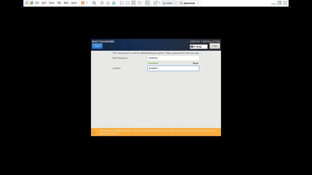 install Centos  - Step 7 ( Provide Root password)