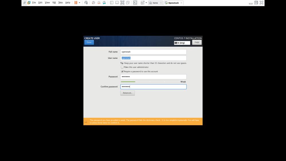 install Centos  - Step 8 ( Create a local user and set password)