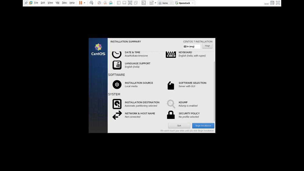 install Centos  - Step 6 ( Begin Installation)