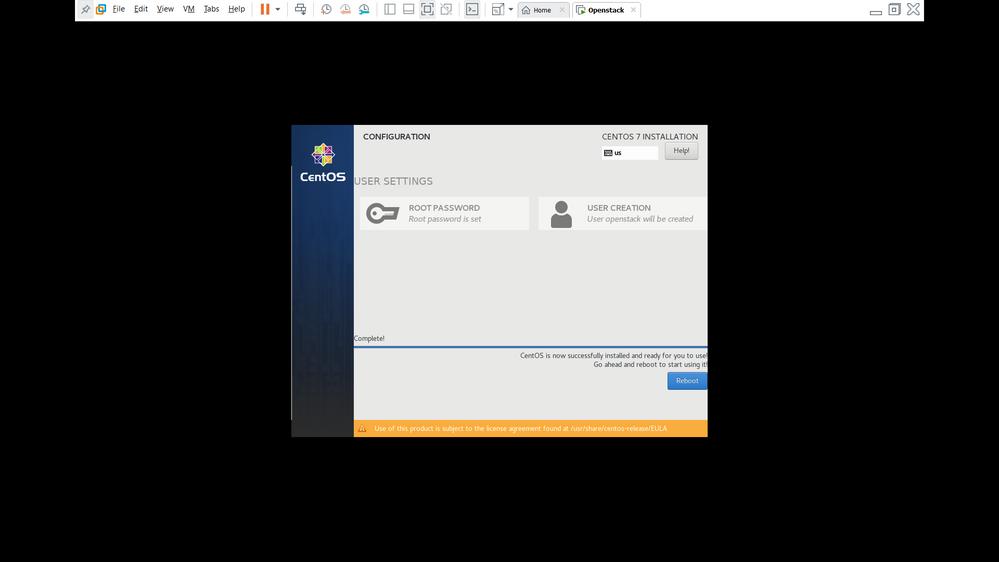 install Centos  - Step 10 ( Reboot)