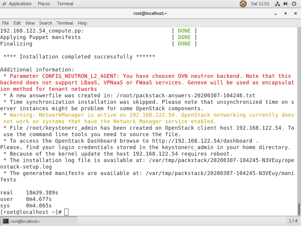 installing Openstack - output (Installation of Openstack  Completed - Dashboard - password informations will be displayed here)