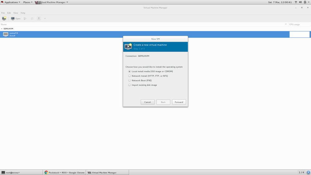 Creating VM in Virt-Manager - Step 1 ( choose local media iso)