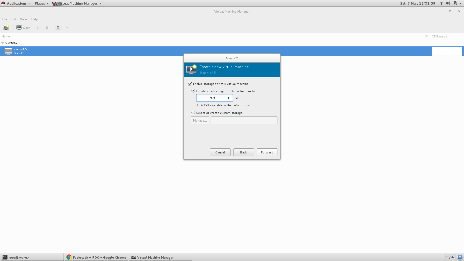 Creating VM in Virt-Manager - Step 4 ( Create disk size as minimum 20 GB)