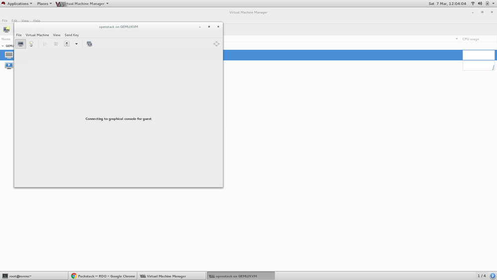 Creating VM in Virt-Manager - Step 8 ( Begin Installation and wait for  Console of VM)