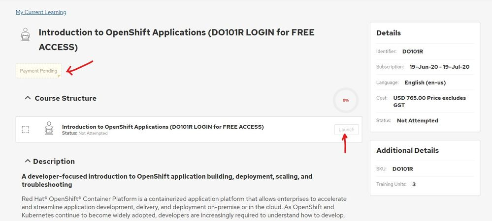 Unable to launch DO101: Introduction to OpenShift Applications