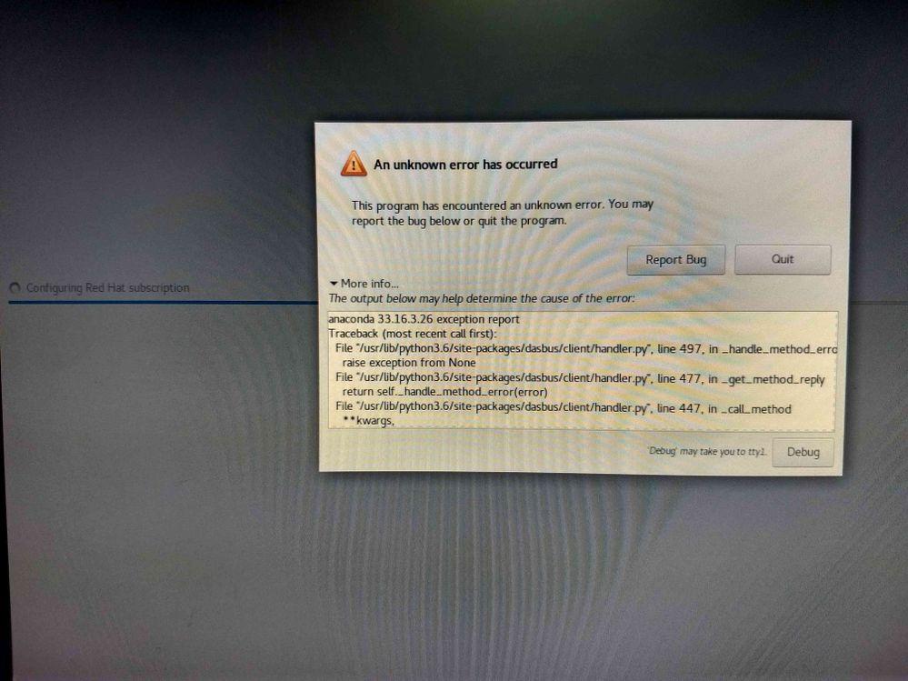 Installation termination message